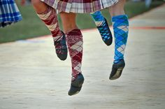 Highland dance; tartan socks are knitted to match the kilts.