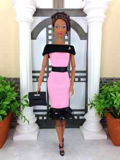 Barbie Doll Clothes  Pink And Black Dress with by EnchantedStyles