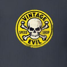 Vintage Logo Speed Shop Retro Racer Racing Motorcycle Motor Sport Skull Cross Bones Speed Shop T Shirt