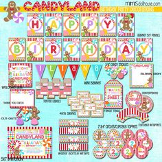 Candyland Party Decorations- Printable Candy Land Birthday Party Decorations- Candy Cane Birthday Party PDF/JPEG ***Would you like to have this Thank U Cards, Candy Land Theme, Birthday Candy, Birthday Parties, Happy Birthday, Candy Party, Lollipop Party, Party Fun, Colorful Candy