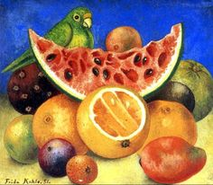 Naturaleza muerta con loro y frutas (Still life with parrot and fruits), 1951 - Frida Kahlo