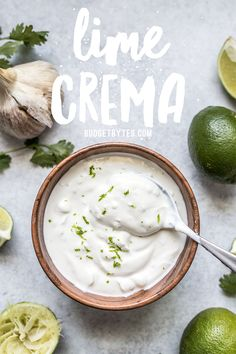 This tangy creamy fresh and garlicky Lime Crema is the key to taking your tacos nachos salads and more to the next level. Sauce Recipes, Seafood Recipes, Mexican Food Recipes, Vegetarian Recipes, Cooking Recipes, Healthy Recipes, Healthy Sauces, Free Recipes, Cooking Tips