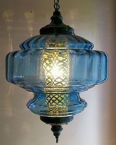 Beautiful blue vintage swag lamp!