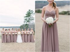 Mauve bridesmaid dresses with white bouquets