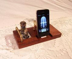 iPhone Dock - iPod Dock - Charger and Sync Station -- Oak - Tube Model steampunk