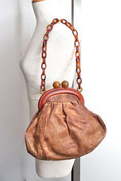 vintage 40s bakelite and leather shoulder bag by RedTuTuRetro, $130.00
