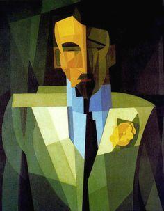Emilio Pettorutti (1892-1971), El Hombre de la Flor Amarilla, 1932. via