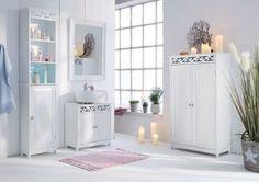Badschrank Weiß, Badezimmer Ideen, Landhausstil, Schrank Weiß, Badschrank  Landhaus, Badmöbel Landhaus