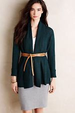 Anthropologie Open Pointelle Cardigan XS, Holly Green Open Front Cardi By Moth