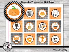 #favorTags Halloween - Cute Kawaii - 12 Designs - Printable Party Circles - Cupcake Toppers - Party Favor Tags - INSTANT DOWNLOAD  halloween pumpkin ghost candy cute kawaii candy corn skull spider black cat cupcake topper gift tag digital pinkinkart PinkInkArtDesign 5.00 USD