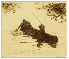Summer Days fly fishing with canoe etching by Brett J Smith www.brettsmith.com