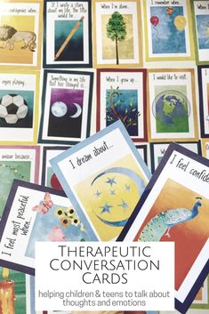 Great therapy and counseling intervention cards to use with children and teens to help talk about thoughts and emotions.