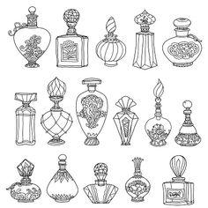 Black White Fantasy Vintage Perfumes Pattern Stock-Vektorgrafik (Lizenzfrei) 402886945 - Black and white fantasy vintage perfumes. Pattern for adult coloring book in zenart or zentagle sty - Doodle Drawings, Doodle Art, Drawing Sketches, Doodle Frames, Doodle Books, Book Drawing, Zen Doodle, Tattoo Drawings, Drawing Ideas