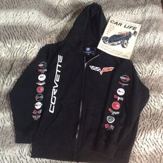 EUC - Men's Corvette Full Zip Hoodie Somewhat faded from washing, only worn a few times. No strings in the hood, no cracking in the screen printing. Corvette GM Tops Sweatshirts & Hoodies