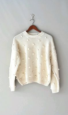 vintage cream slouchy sweater / oversized sweater / LOOK for these in thrift stores cable knot ones too. Sweater Weather, Look Fashion, Womens Fashion, High Fashion, Slouchy Sweater, Pom Pom Sweater, Inspiration Mode, Looks Style, Mode Style