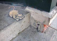 David Zinn,  l'artista che dà vita agli animali sull'asfalto