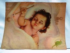 Old Lord Bal Krishna Sleeping In Bed Vintage Lithograph Print Very Beautiful