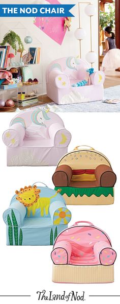 The Nod Chair is the most unique kids seat around. With tons of artist-designed styles to choose from, plus a comfy and sturdy construction, this remarkable piece of kids' furniture is perfect for a playroom, kids room and more.