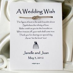 Infinity Love Knot WISH BRACELET Wedding Favor
