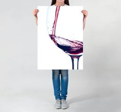 Visit my Shop to use this coupon code for 20% off: XMAS16 --- Until 7th December 2016. --- LARGE wall ART red wine photo elegant wine photography matte art print modern tasty wine art tasteful wine splash on white rag paper by DrawingIllustration