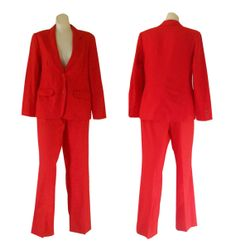 Red Christmas Suit Ladies Red Suit Women Pant by TheVilleVintage, $89.99