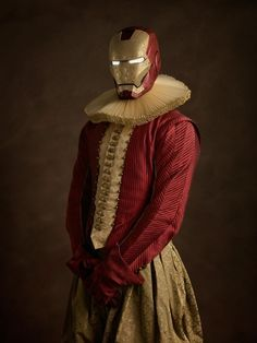 """""""Portait of a man wearing a gold armor."""" Sacha Goldberger If Superheroes Were From The Elizabethan Age"""