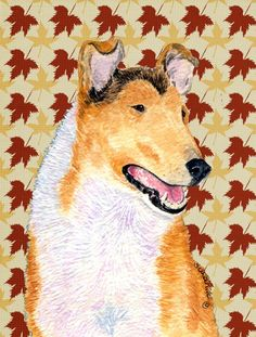 Collie Smooth Fall Leaves House Vertical Flag