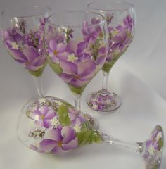 Hand Painted Tulip Wine Glass 4  Spring Garden  by EverMyHart, $59.95