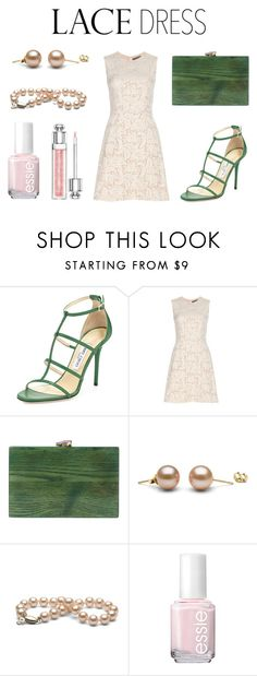 """Alexander McQueen lace dress."" by alexiam5 ❤ liked on Polyvore featuring Jimmy Choo, Alexander McQueen, Ashlyn'd, Essie and Christian Dior"