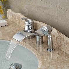 92.80$  Watch now - http://alisbg.worldwells.pw/go.php?t=32456611744 - Wholesale And Retail Promotion Elegant Waterfall Bathroom Tub Faucet 3 pcs Vessel Sink Mixer Tap Diverter Unit 92.80$