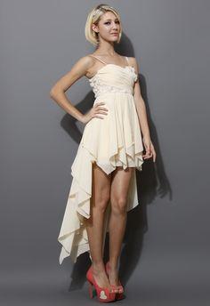 Cream 3D Flower Asymmetric Waterfall Dress