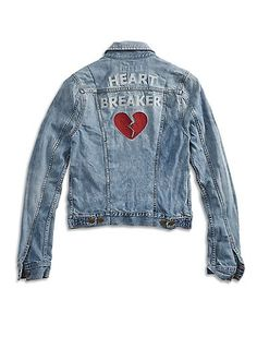 "Lucky Brand Heart Breaker statement denim jacket featuring a timeless fit, long sleeves, button front closure, and ""Heartbreaker"" embroidery at back."
