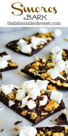 This Easy S'mores Bark has just 3 ingredients and is made in the microwave! Super fun for getting kids in the kitchen with you! The Bitter Side of Sweet