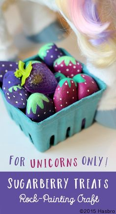 Turn rocks into yummy Sugarberry Treats like StarLily My Magical Unicorn treat.  You'll just need a handful of berry-sized rocks, paint supplies, and a little imagination! Inspired and sponsored by FurReal Friends =