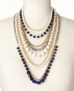 Pearlized Navy Statement Necklace