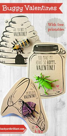 Homemade Valentines with Free Printables, Bug Valentines, Butterfly Valentines, You Make My Heart So Hoppy, Will you Bee my Valentine, Beehive, Insect Jar, Candy Free Valentines