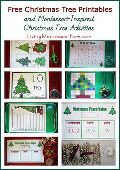 Lots of free Christmas tree printables along with ideas for using printables to create Montessori-inspired Christmas Tree activities
