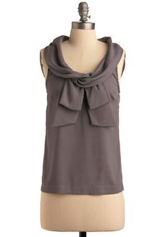 Beauty and Business Top. Handle business well when you wear this sleeveless, slightly sheer, dark smoke top to the office or about town! #grey #modcloth