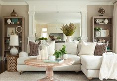 Living room. Love the color of the bookcases