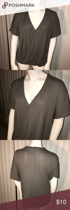 Grey Wrap Front Flowy Top Flowing cross over top gives wrap illusion. Sexy deep V neck. Gathered bottom with flowy material is great to hide stomach for slimming effect. Dress up or down. Alloy. Missing tag but fits me like 1X. ALLOY Tops Blouses