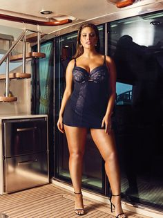 Ashley Graham Dreamer Seductive Chemise with Garters from her Addition Elle Dreamer Plus Size Lingerie Collection