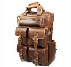 Vintage Genuine Leather Backpack  School Bag Travel by guatiantian, $138.99