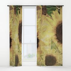 """Your drapes don't have to be so drab. Our awesome Window Curtains transform a neglected essential into an awesome statement piece. They're crafted with 100% lightweight polyester, and thick enough to block out some light. Position the curtain rod into the 4"""" pocket and you're good to go. All curtains are a single-sided print and measure 50"""" x 84"""". Available in single or double panel options. Machine wash cold (no bleach!) and tumble dry low. #curtains,  #sunflower #art"""