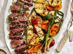 Hanger Steak with Kimchi Glaze and Miso Butter–Grilled Vegetables Steak Recipes, Wine Recipes, Gourmet Recipes, Summer Recipes, Healthy Dinner Recipes, Hanger Steak, Food & Wine Magazine, Grilled Vegetables