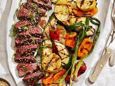 Hanger Steak with Kimchi Glaze and Miso Butter–Grilled Vegetables