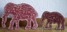 Love this! A Taste of India - Wooden Elephants Decorated with Scrapbook Papier