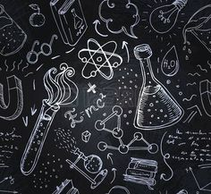 Illustration of Back to School: science lab objects doodle vintage style sketches seamless pattern, vector illustration. vector art, clipart and stock vectors. Mural Tumblr, School Doodle, Math Wallpaper, Chemistry Art, Blackboard Art, Murals Your Way, Vintage School, Doodle Sketch, Science Art