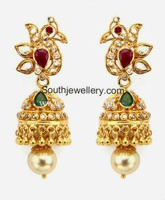 uncut diamond jhumkas  22 carat gold peacock design jhumkas studded with uncut diamonds, rubies, emeralds and south sea pearl drops. Weight: 14 grams Price: approx Rs. 63,000