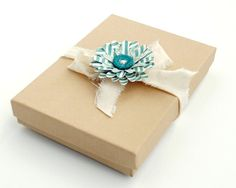 Small KRAFT PAPER Gift Box Decorated with by PapersAndPetals, $2.00