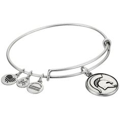 Alex and Ani Michigan State University (Rafaelian Silver) Bracelet ($32) ❤ liked on Polyvore featuring jewelry, bracelets, silver charms, heart bangle, silver charm bangle, silver jewellery and silver bangles